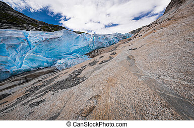 Blue glacier Nigardsbreen in Norway