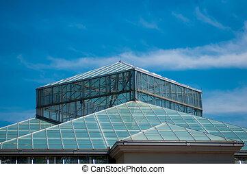blue glass and sky