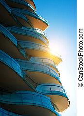 Blue Glass Balconies