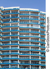 Blue Glass Balconies on High Rise Condos