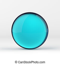 Blue glass ball - Blue clear glass sphere on white isolated ...