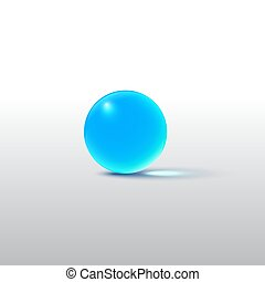 Blue glass ball isolated on grey. Vector realistic design element.