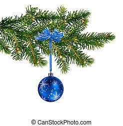 Blue glass ball on Christmas tree