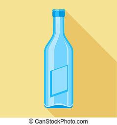 Blue glass bottle icon, flat style
