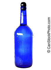 blue glass bottle with cap isolated on white