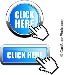 Blue glass button click here