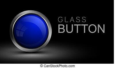 Blue glass button for web design.