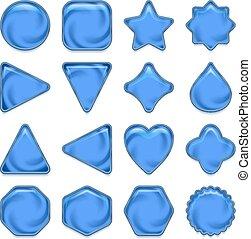 Blue glass buttons set