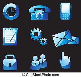 Blue glass control buttons