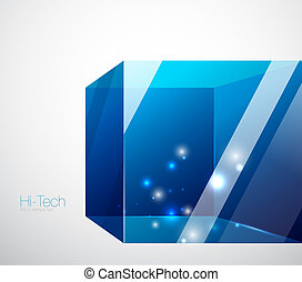 Blue glass cube background