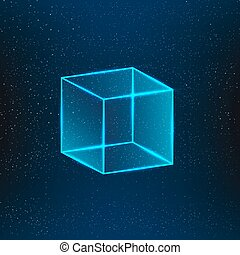 Blue glass cube