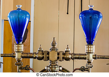 Blue glass domes - Pair of blue glass domes on very old...