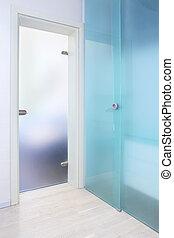 Blue glass door