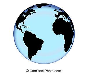 Blue Glass Globe - Glass like rendering of the globe.