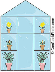 Front view of illustrated greenhouse with plants and flowers, lightly grungy