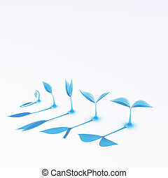 blue glass growing sprouts - the growing stage of sprouts...