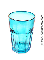 Blue glass isolated on white background