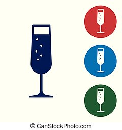 Blue Glass of champagne icon isolated on white background. Vector Illustration