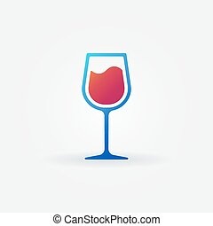 Blue glass of red wine vector icon