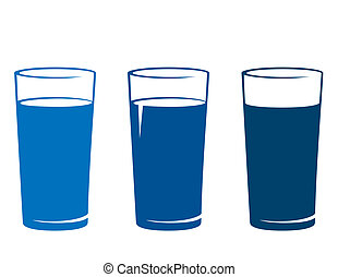 glass of water - blue glass of water on white background