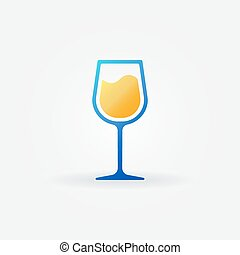 Blue glass of white wine vector icon