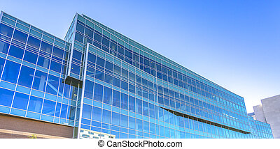 Blue glass on a modern building in Provo Utah