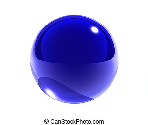 blue glass sphere isolated