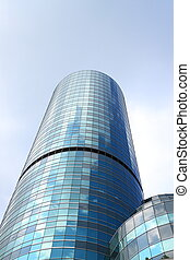 Blue glass tower.