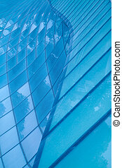 Blue glass wall background