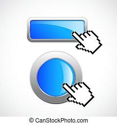 Blue glass website button
