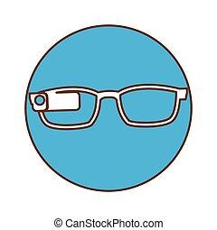 Blue glasses button signal icon