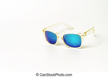 blue glasses isolated on a white background.