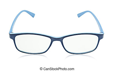 Blue glasses isolated on a white.