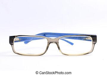 Blue glasses Isolated on white background.