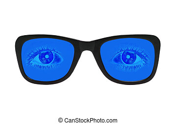 Blue glasses with eyes inside isolated on white.