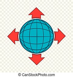 Blue globe and red arrows icon, cartoon style
