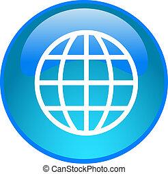 blue globe button