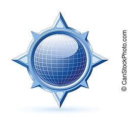 Blue globe inside steel compass rose - Blue shiny globe...
