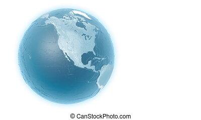 Light blue rotating globe on white background