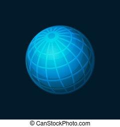 Blue Globe Network Icon on Dark Background. Vector