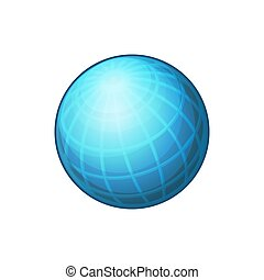 Blue Globe Network Icon on White Background. Vector