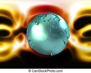 Blue globe on abstract yellow and red background