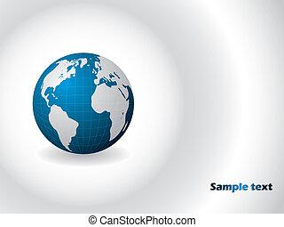Blue globe on white background