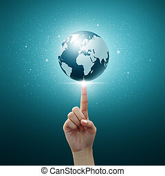 blue globe on women Fingertip on blue background