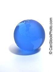 Blue Globe - Blue glass globe paperweight
