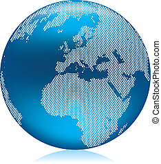 Blue Globe - Vector illustration of shiny blue Earth globe...