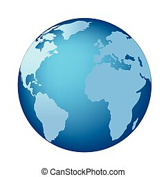 Blue globe with continents