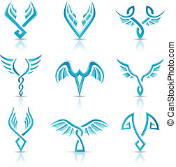 Blue glossy abstract wings - Vector illustration of blue...
