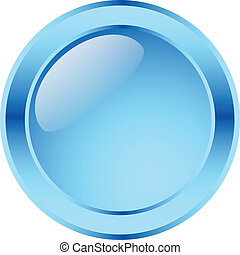 blue glossy button - Blank glassy button -vector (easy to...