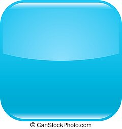 Blue glossy button blank icon square empty shape
